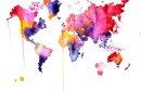 World Map watercolor print