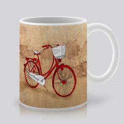 Сутрешната чаша кафе или чай става още по-приятна, с дизайнерската ни керамична чаша с щампа Червено колело.