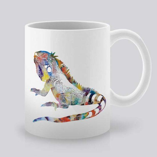 Сутрешната чаша кафе или чай става още по-приятна, с дизайнерската ни керамична чаша с щампа Игуана.
