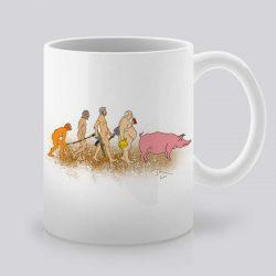 Сутрешната чаша кафе или чай става още по-приятна, с дизайнерската ни керамична чаша с щампа Еволюция.