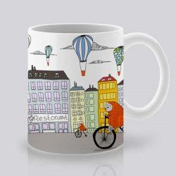 Сутрешната чаша кафе или чай става още по-приятна, с дизайнерската ни керамична чаша с щампа Градски бухали.