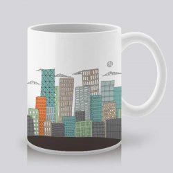 Сутрешната чаша кафе или чай става още по-приятна, с дизайнерската ни керамична чаша с щампа Градски пейзаж.