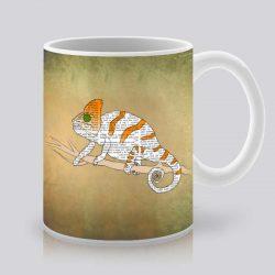 Сутрешната чаша кафе или чай става още по-приятна, с дизайнерската ни керамична чаша с щампа Игуана на дърво.