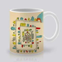 Сутрешната чаша кафе или чай става още по-приятна, с дизайнерската ни керамична чаша с щампа Лабиринт.