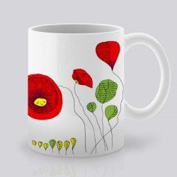 Сутрешната чаша кафе или чай става още по-приятна, с дизайнерската ни керамична чаша с щампа Макове.