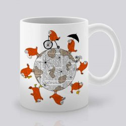 Сутрешната чаша кафе или чай става още по-приятна, с дизайнерската ни керамична чаша с щампа Около света.
