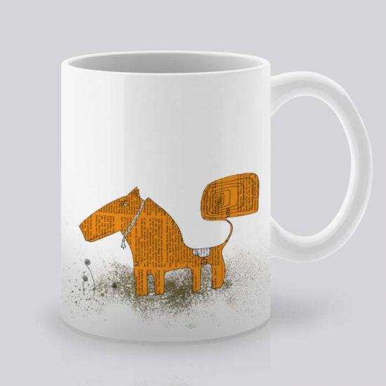 Сутрешната чаша кафе или чай става още по-приятна, с дизайнерската ни керамична чаша с щампа Оранжево куче.