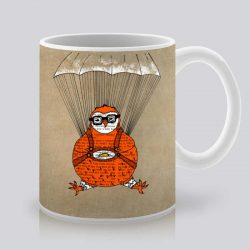 Сутрешната чаша кафе или чай става още по-приятна, с дизайнерската ни керамична чаша с щампа Парашутист.
