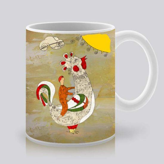 Сутрешната чаша кафе или чай става още по-приятна, с дизайнерската ни керамична чаша с щампа Петел и човек.