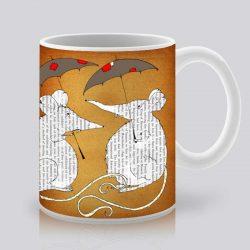 Сутрешната чаша кафе или чай става още по-приятна, с дизайнерската ни керамична чаша с щампа Разходка под дъжда.