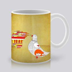 Сутрешната чаша кафе или чай става още по-приятна, с дизайнерската ни керамична чаша с щампа Речта на гълъба.