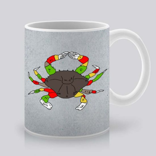 Сутрешната чаша кафе или чай става още по-приятна, с дизайнерската ни керамична чаша с щампа Шарен рак.