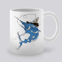 Сутрешната чаша кафе или чай става още по-приятна, с дизайнерската ни керамична чаша с щампа Синьо чудовище.