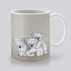 Сутрешната чаша кафе или чай става още по-приятна, с дизайнерската ни керамична чаша с щампа Три коали.