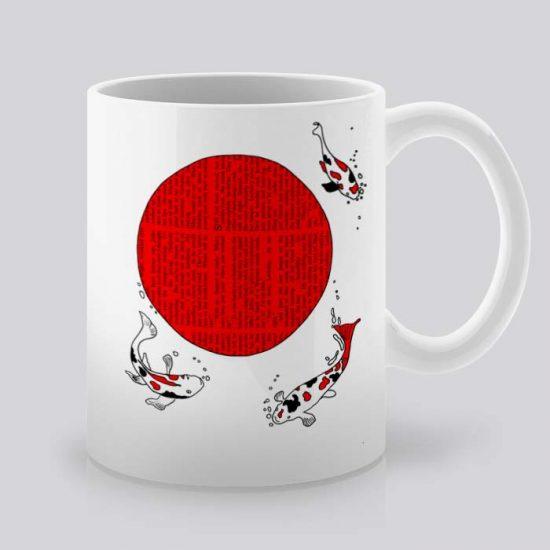 Сутрешната чаша кафе или чай става още по-приятна, с дизайнерската ни керамична чаша с щампа Япоснки шаран Кои.