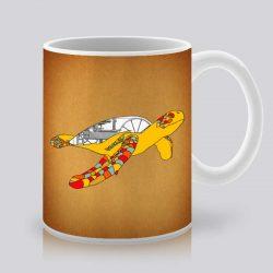 Сутрешната чаша кафе или чай става още по-приятна, с дизайнерската ни керамична чаша с щампа Жълта костенурка.
