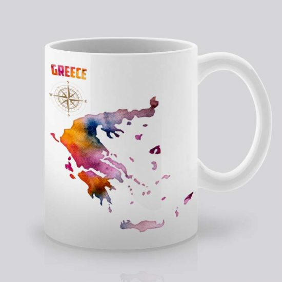 Сутрешната чаша кафе или чай става още по-приятна, с дизайнерската ни керамична чаша с щампа Гърция.