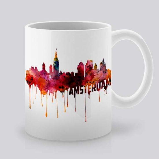 Сутрешната чаша кафе или чай става още по-приятна, с дизайнерската ни керамична чаша с щампа Амстердам.