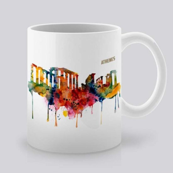 Сутрешната чаша кафе или чай става още по-приятна, с дизайнерската ни керамична чаша с щампа Гледка от Атина.