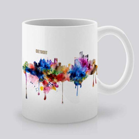 Сутрешната чаша кафе или чай става още по-приятна, с дизайнерската ни керамична чаша с щампа Гледка от Детройт.