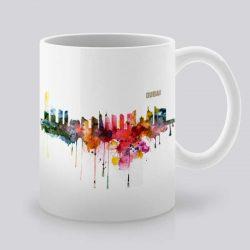 Сутрешната чаша кафе или чай става още по-приятна, с дизайнерската ни керамична чаша с щампа Гледка от Дубай.