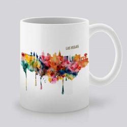 Сутрешната чаша кафе или чай става още по-приятна, с дизайнерската ни керамична чаша с щампа Гледка от Лас Вегас.