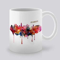 Сутрешната чаша кафе или чай става още по-приятна, с дизайнерската ни керамична чаша с щампа Гледка от Лос Анджелис.