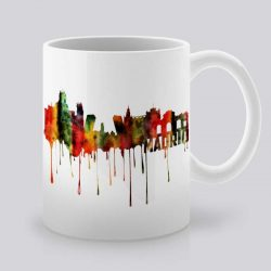 Сутрешната чаша кафе или чай става още по-приятна, с дизайнерската ни керамична чаша с щампа Гледка от Мадрид.