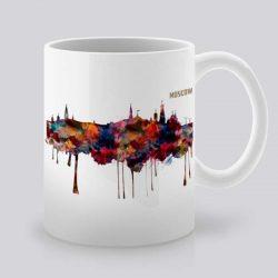 Сутрешната чаша кафе или чай става още по-приятна, с дизайнерската ни керамична чаша с щампа Гледка от Москва.