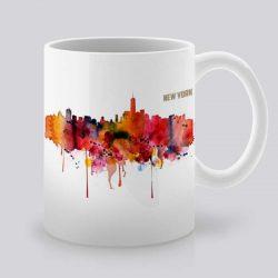 Сутрешната чаша кафе или чай става още по-приятна, с дизайнерската ни керамична чаша с щампа Гледка от Ню Йорк.