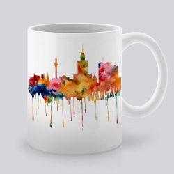 Сутрешната чаша кафе или чай става още по-приятна, с дизайнерската ни керамична чаша с щампа Гледка от Варшава.