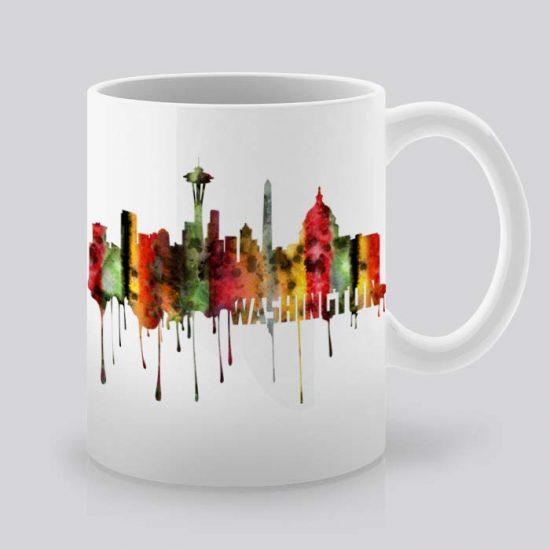 Сутрешната чаша кафе или чай става още по-приятна, с дизайнерската ни керамична чаша с щампа Гледка от Вашингтон.