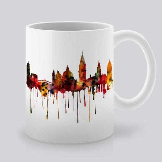 Сутрешната чаша кафе или чай става още по-приятна, с дизайнерската ни керамична чаша с щампа Гледка от Венеция.