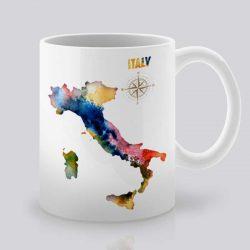 Сутрешната чаша кафе или чай става още по-приятна, с дизайнерската ни керамична чаша с щампа Италия.
