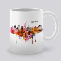 Сутрешната чаша кафе или чай става още по-приятна, с дизайнерската ни керамична чаша с щампа Изглед от Ню Йорк.