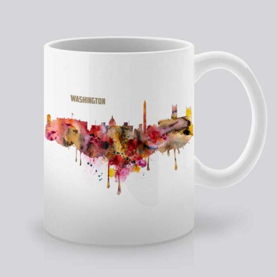 Сутрешната чаша кафе или чай става още по-приятна, с дизайнерската ни керамична чаша с щампа Вашингтон.