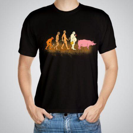 Мъжка тениска Еволюция e изработена от висококачествен памук с ярки цветове и прецизен детайл – сякаш някой е рисувал с четка и бои върху плата.