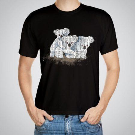 Мъжка тениска Коали e изработена от висококачествен памук с ярки цветове и прецизен детайл – сякаш някой е рисувал с четка и бои върху плата.
