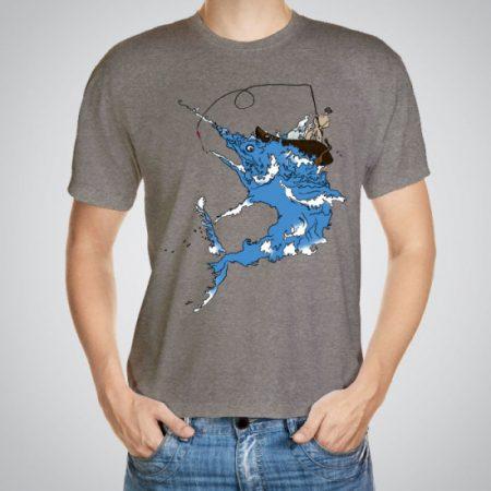 Мъжка тениска Синьо чудовище e изработена от висококачествен памук с ярки цветове и прецизен детайл – сякаш някой е рисувал с четка и бои върху плата.