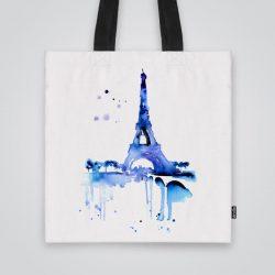 Дизайнерска чанта от плат Айфеловата кула в синьо се шие индивидуално за вас - лека, сгъваема, разпознаваема дамска чанта или удобна чанта за пазар.
