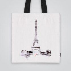 Дизайнерска чанта от плат Айфеловата кула в сиво се шие индивидуално за вас - лека, сгъваема, разпознаваема дамска чанта или удобна чанта за пазар.