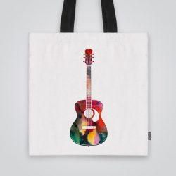 Модерна чанта от плат Акустична китара се шие индивидуално за вас - лека, сгъваема, разпознаваема дамска чанта или удобна чанта за пазар.