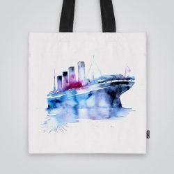 Дизайнерска чанта от плат Акварелен кораб се шие индивидуално за вас - лека, сгъваема, разпознаваема дамска чанта или удобна чанта за пазар.