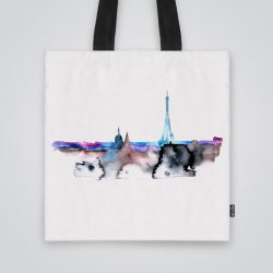 Дизайнерска чанта от плат Акварелен Париж се шие индивидуално за вас - лека, сгъваема, разпознаваема дамска чанта или удобна чанта за пазар.