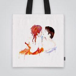 Дизайнерска чанта от плат Акварелна любов се шие индивидуално за вас - лека, сгъваема, разпознаваема дамска чанта или удобна чанта за пазар.