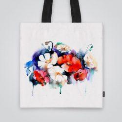 Арт чанта от плат Акварелни цветя се шие индивидуално за вас - лека, сгъваема, разпознаваема дамска чанта или удобна чанта за пазар.
