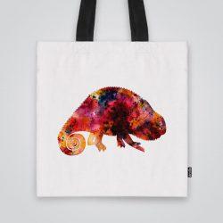 Модерна чанта от плат Червен хамелеон се шие индивидуално за вас - лека, сгъваема, разпознаваема дамска чанта или удобна чанта за пазар.