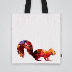 Дизайнерска чанта от плат Червена норка се шие индивидуално за вас - лека, сгъваема, разпознаваема дамска чанта или удобна чанта за пазар.