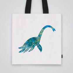 Дизайнерска чанта от плат Чудовището от Лох Нес се шие индивидуално за вас - лека, сгъваема, разпознаваема дамска чанта или удобна чанта за пазар.