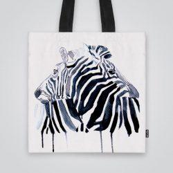 Дизайнерска чанта от плат Двойка зебри се шие индивидуално за вас - лека, сгъваема, разпознаваема дамска чанта или удобна чанта за пазар.